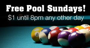 Free pool at Bradys sundays